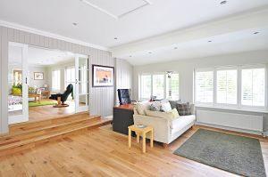 salon avec plancher en bois et canapé