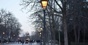 lampadaire allumé dans un parc
