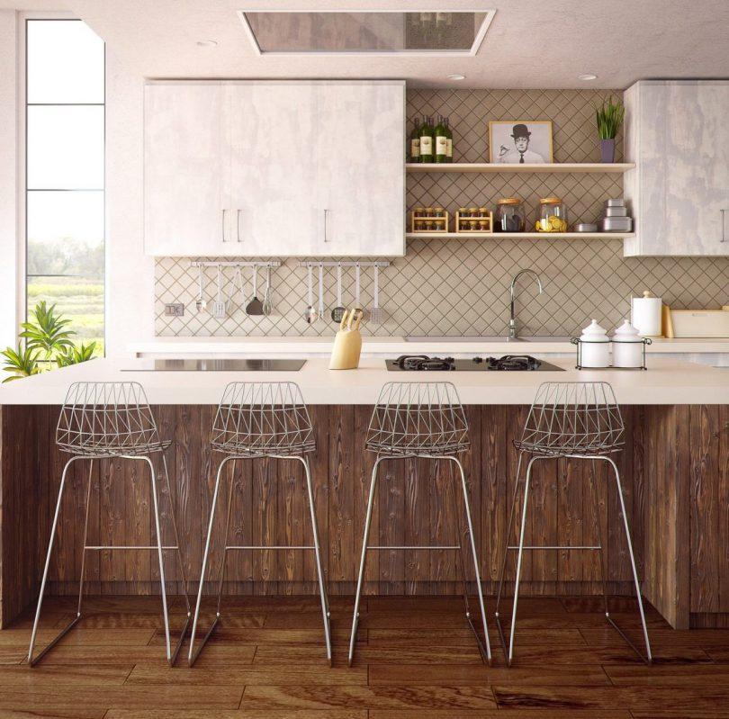 cuisine blanche ouverte avec ilot et chaises