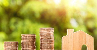 maison en bois et pièces de monnaie