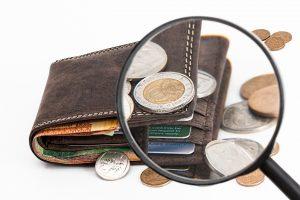 pièces d'argent dans un portefeuille à la loupe