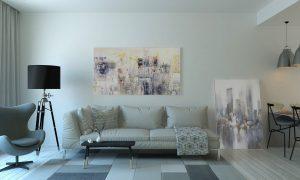 salon avec canapé blanc et tapis a carreaux