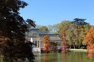 paysage d'automne palais de cristal parc retiro madrid