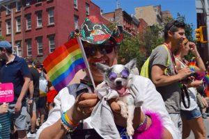 personne avec chien dans madrid pour la gay pride et drapeau gay