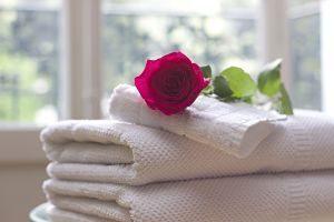 serviettes blanches pliées avec une rose dessus
