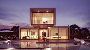 maison deux étages avec baie vitrée
