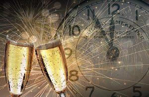 verre de champagne horloge nouvel an