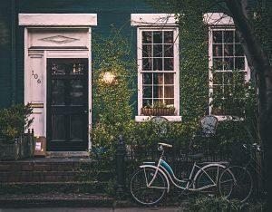 mur végétal de maison avec vélo