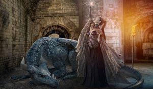 dragon et femme levant la main