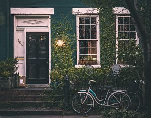 vélo posé contre le mur végétal d'une maison